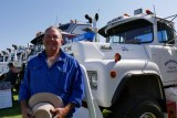 Truck owner Allan Carmichael standing in front of his Mack truck at the Ivanhoe truck and tractor show.