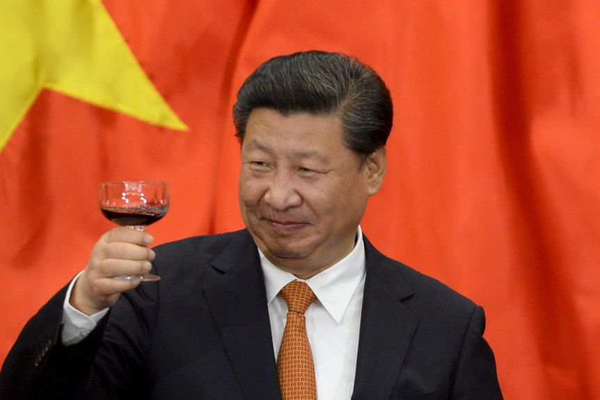Chinese President Xi Jinping raises a glass of wine while standing in front of a Chinese flag