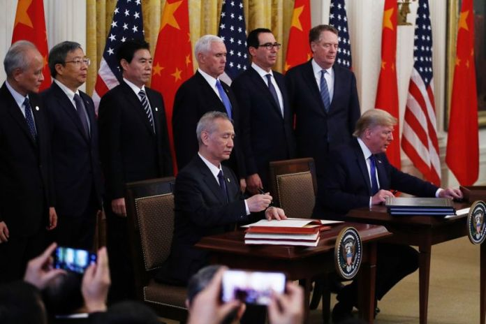 US and China sign phase one of the trade deal.