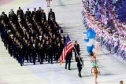 Members of the US team enter the stadium during the opening ceremony of the MilitaryWorldGamesin Wuhan.