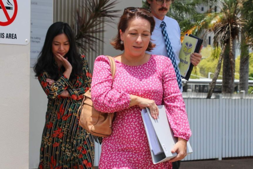 A photo of Karen Broadfoot leaving the Darwin Local Court.