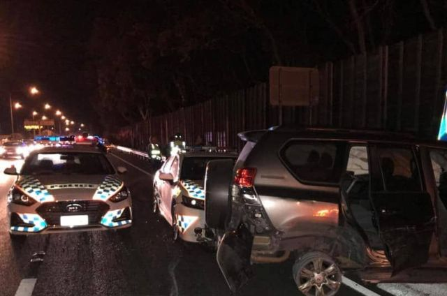The car was eventually stopped in Greenslopes