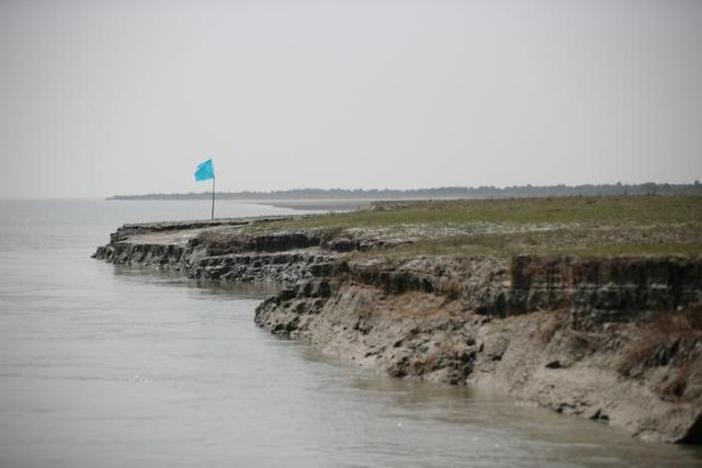 View of the island of Bhasan Char in the Bay of Bengal, Bangladesh.