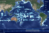 A map of the world with fishing activity highlighted in light blue.