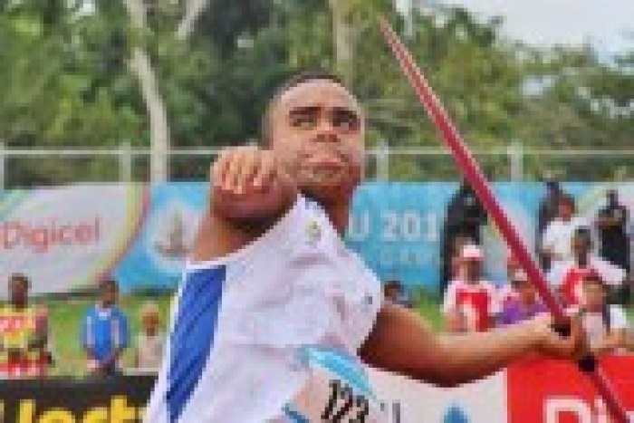 Close of up Iosefo about to release the javelin at the Vanuatu Mini Games.