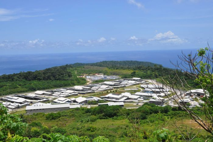 An aeriel view of the Christmas Island detention centre on a clear sunny day.