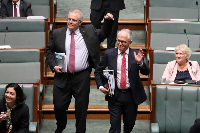 Scott Morrison points to Malcolm Turnbull