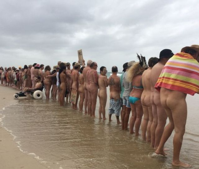 Protesters Line Up At A Nude Not Lewd Rally On Tyagarah Beach Near