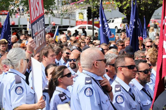 Firefighters at the Tasmanian public sector rally in Hobart.