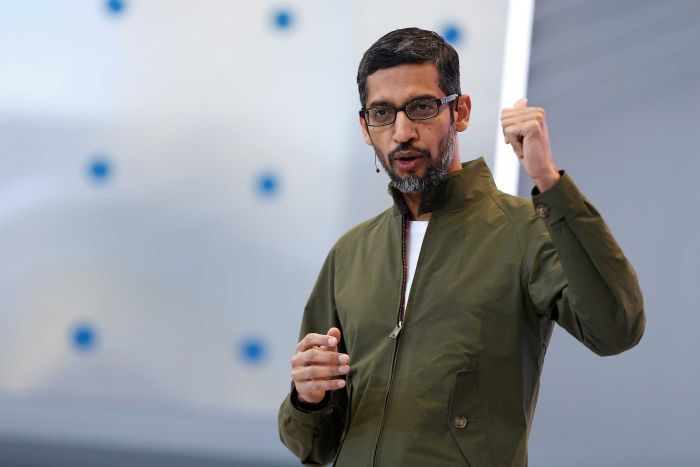 Google CEO Sundar Pichai speaks on stage during an annual Google developers conference