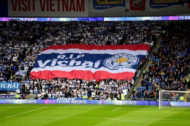 Leicester City fans hold up RIP Vichai banner