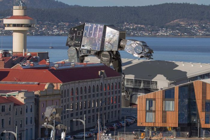 Peter Topliss superimposed image of robots over Macquarie Point