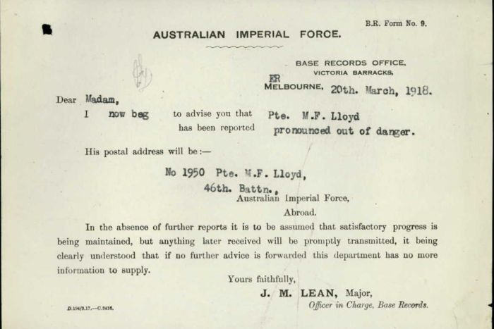 Letter declaring Private Lloyd was out of danger