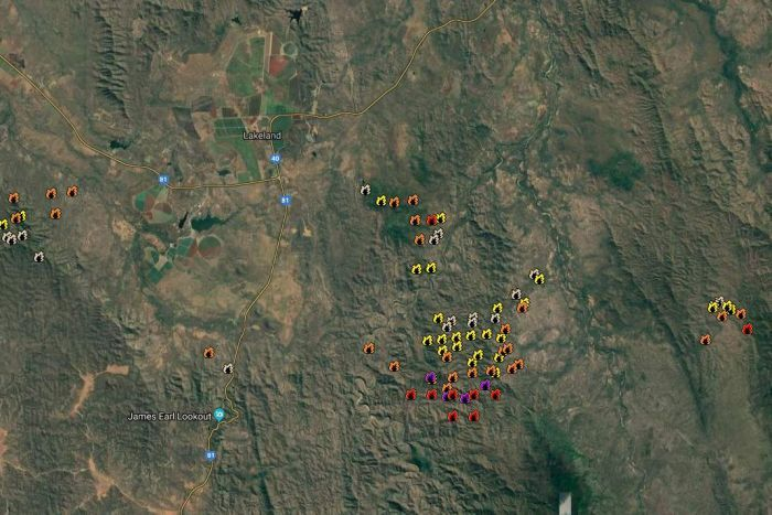 A satellite map showing the locations of fires around Lakeland on Cape York.