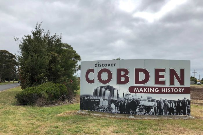 "The sign at the entrance to town says ""Discover Cobden, Making History"""