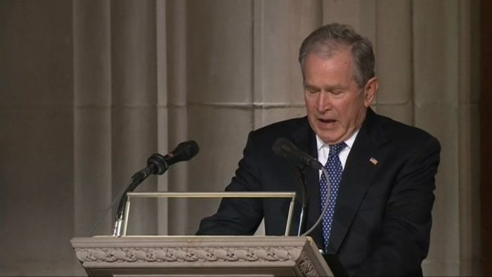 George W Bush gives emotional tribute to father