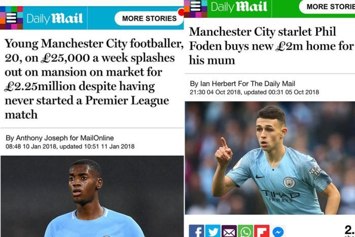 Composite of Daily Mail articles featuring Tosin Adarabioyo and Phil Foden highlighted by Raheem Sterling