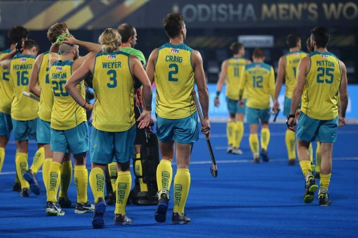 Australian players after their loss to Netherlands in the 2018 Men's Hockey World Cup semi-final.