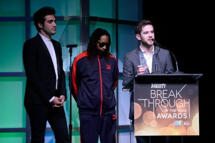 Colin Kroll, right, onstage with rapper Lil Jon.
