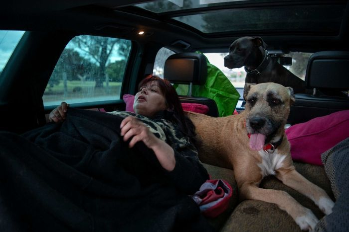 Kristina sees that her dogs are a big hurdle to finding housing.