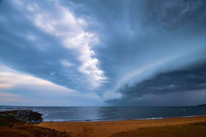 Storm clouds over a beach at Redcliffe , north of Brisbane.