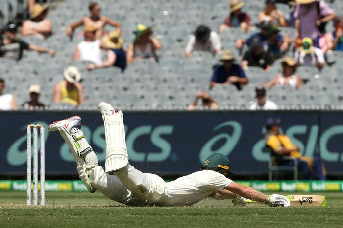Australia batsman Tim Paine dives into the grass to complete a run during a Test at the MCG.