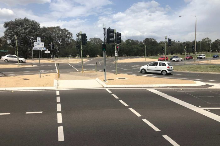 A multi-lane intersection on Belconnen Way in Canberra.