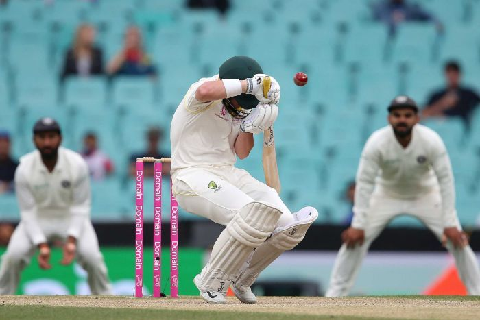 Marcus Harris is hit by a rising delivery playing for Australia against India at the SCG on January 6, 2019.