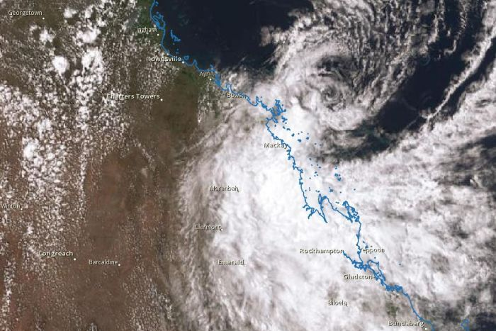 Satellite image of ex-Tropical Cyclone Penny nearing the coast on Tuesday afternoon