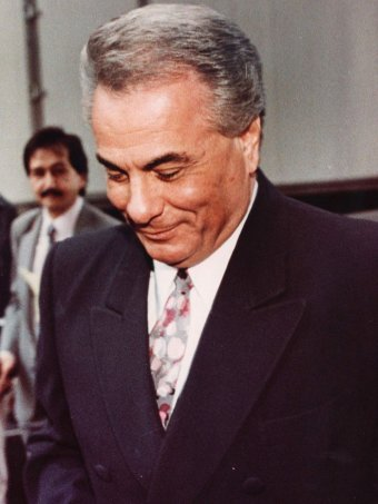 Mobster John Gotti leaves State Supreme Court in New York in this file photo taken ebruary 8, 1990.