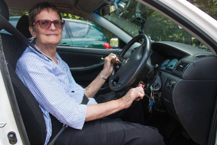 Sue Salthouse operates her hand-controlled car.