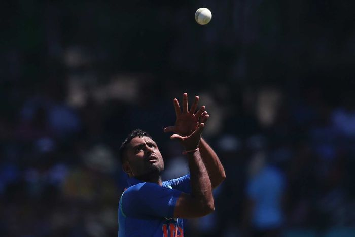 A man wearing blue catches a white cricket ball with both hands above his head