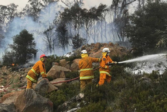 Philip de Bomford with Claude Road Fire Brigade members at Miena, January 2019