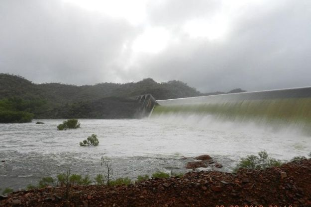 Water gushing over the spillway of a dam. The tops of trees can be seen in the river below.