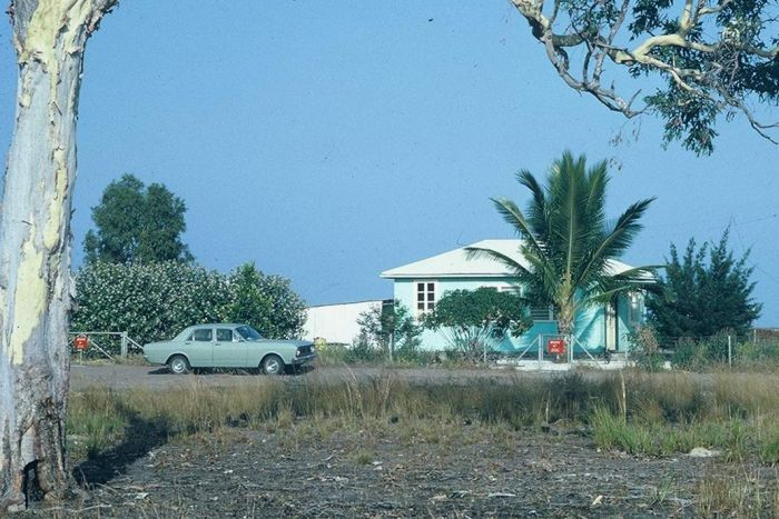 An archival photo of a small home in Karumba.