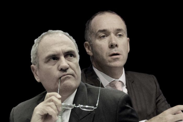 A composite image of NAB chair Ken Henry and CEO Andrew Thorburn