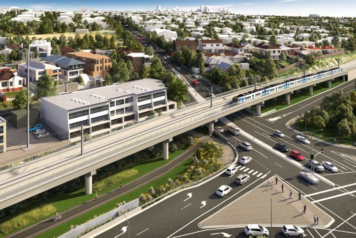A digital drawing of a raised train line running along a freeway with houses and the city skyline in the background.