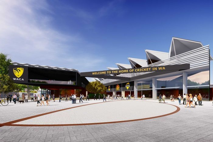 An artist's impression of the entrance to a redeveloped WACA Ground in Perth, with people outside a piazza.