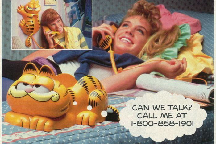 Advertisement for Garfield phone showing girl lying on a bed talking into a phone