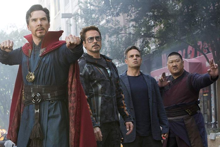 Doctor Strange, Tony Stark, Bruce Banner and Wong.