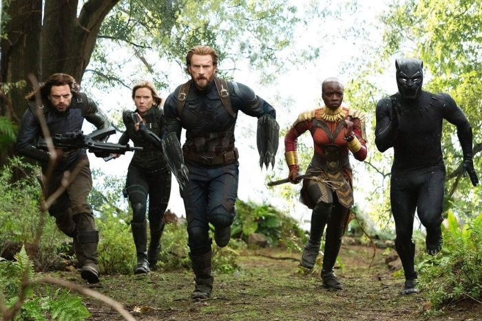 Bucky Barnes, Black Widow, Captain America, Wakanda general Okoye and Black Panther.