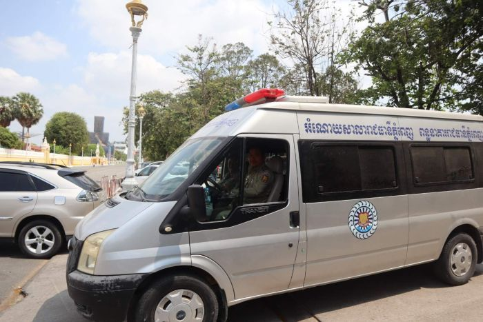 A Cambodian police van