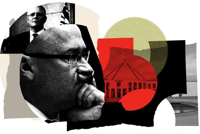 A graphic featuring John Kunkel in the foreground in front of an image of Prime Minister Scott Morrison and Parliament House.