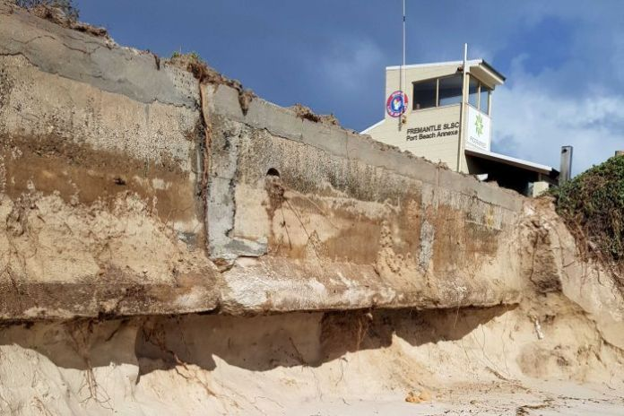 The Port Beach car park has been dismantled by erosion.