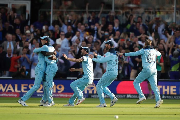 England celebrates winning the Cricket World Cup