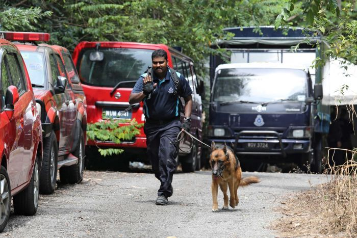 A police officer raises a hand, palm facing outwards, while running on a road with a sniffer dog.