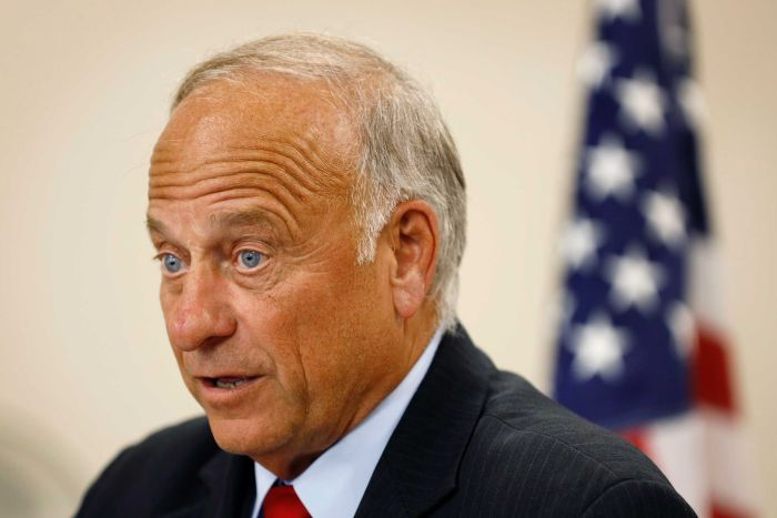 Steve King speaks during a town hall meeting in a suit with an American flag placed behind him.