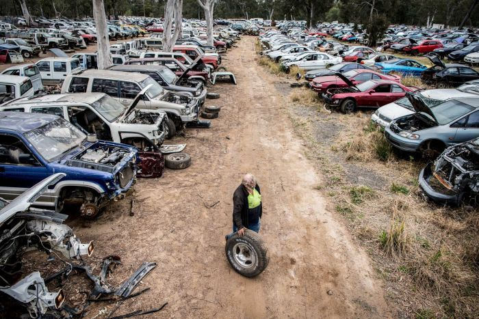 A man stands with a wheel surrounded by lines of cars in different states of disrepair at an auto wreckers.
