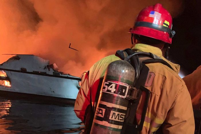 Firefighters respond to a boat fire off the coast of southern California,