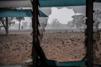 Drought-affected land can be seen through the windows of an abandoned home in Parkes, NSW.
